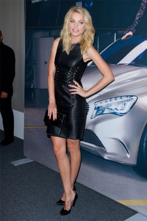 "Jessica Stam unveils the Spring 2012 Mercedes-Benz ""Fashion Hot Spot"" at Lincoln Center in New York"