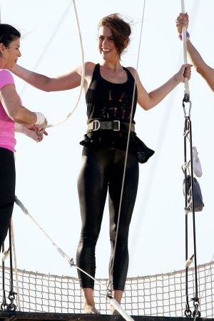 Jessica Stroup shows off her acrobatic skills