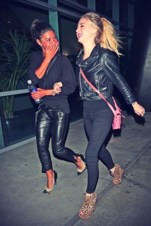Jessica Szohr and Alessandra Torresani outside the Staples Center