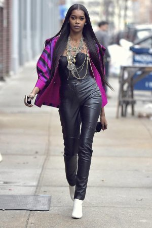 Jessica White is seen during a photo shoot in Soho