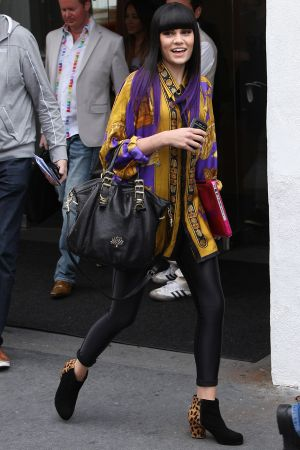 Jessie J arriving at an office building