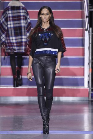 Joan Smalls attends the Tommy Hilfiger show