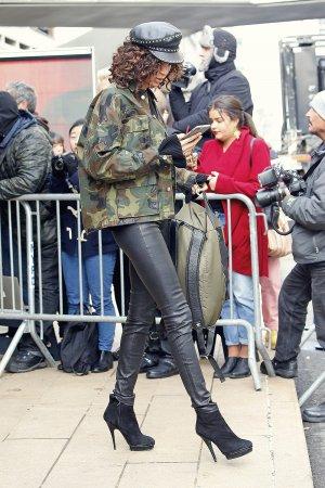 Joan Smalls outside the Michael Kors show