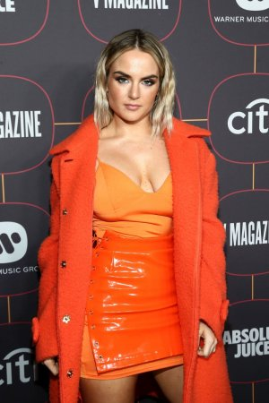 Joanna Levesque attends Warner Music Group Pre-Grammy Party