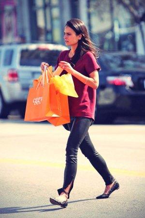 Jordana Brewster shopping at children's boutique Eggy