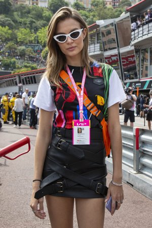 Josephine Skriver attends the 77th Formula 1 Grand Prix