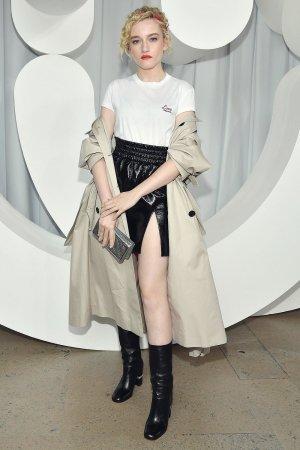 Julia Garner attends Miu Miu show front row
