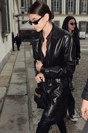 Kaia Gerber arrive at Versace Fashion Show