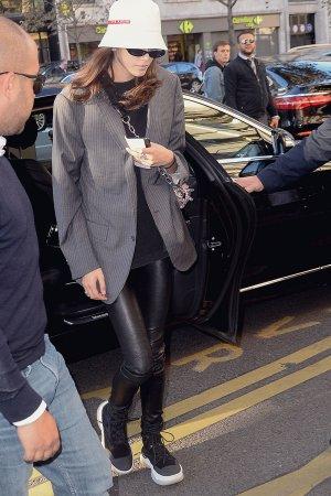 Kaia Gerber leaves her hotel in Paris