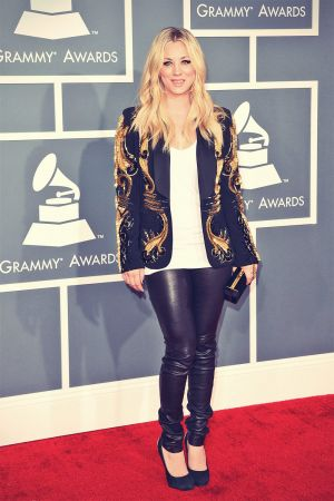 Kaley Cuoco attends 55th Annual GRAMMY Awards Arrivals