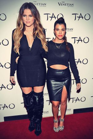 Kardashian sisters arrive at the Tao Nightclub