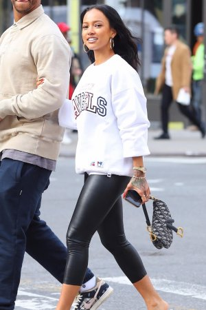 Karrueche Tran after shopping at Kith
