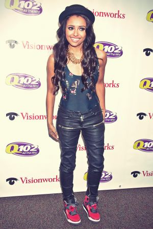 Kat Graham poses at the Q102 iHeart Performance Theater
