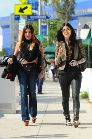 Kat Von D seen walking on Melrose Avenue in West Hollywood