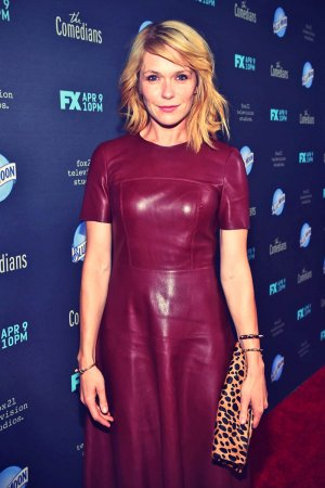 Katie Aselton attends the premiere of The Comedians