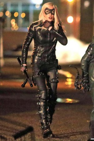 Katie Cassidy on the set of Arrow