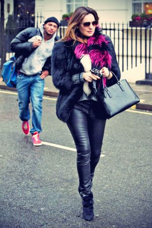 Kelly Brook leaving her London home