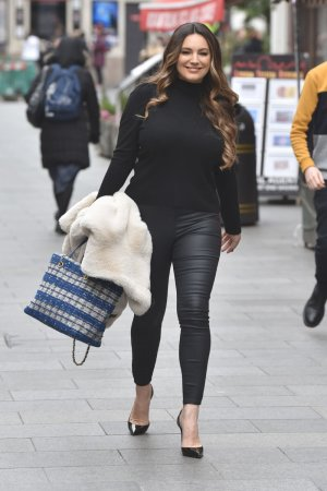 Kelly Brook leaving the Global Studios after the Heart Radio Breakfast show
