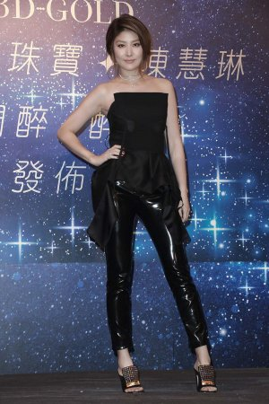 Kelly Chen attends a press conference of 3D-Gold jewellery
