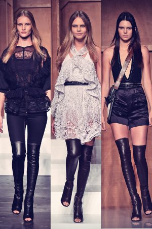 Kendall Jenner, Rosie Huntington-Whiteley and Cara Delevingne on the catwalk at Paris Fashion Week
