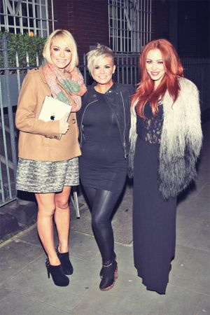 Kerry Katona, Natasha Hamilton and Liz McClarnon outside a recording studio