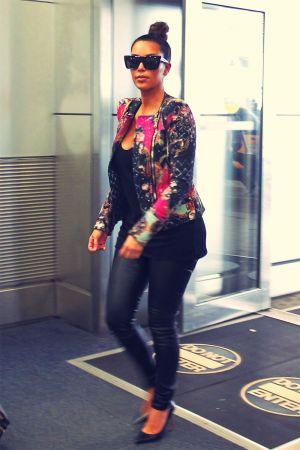 Kim Kardashian arriving for a flight