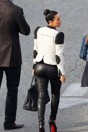 Kim Kardashian in Black Tight Pants in LA