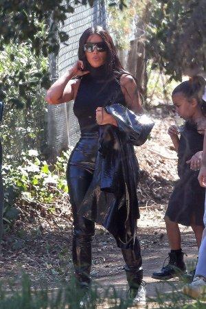 Kim Kardashian is seen leaving Kanye West's church service