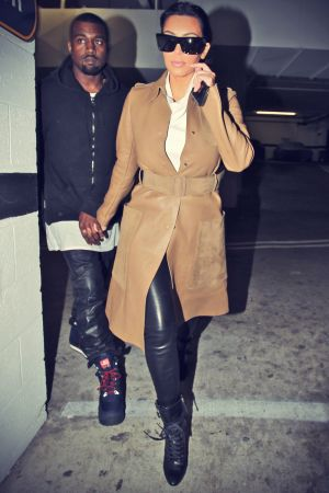 Kim Kardashian & Kanye West leave a medical building