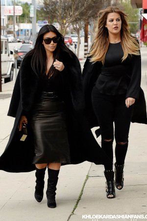 Kim & Khloe Kardashian arriving at Jenner Communications