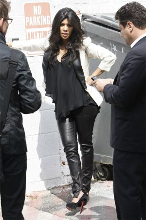 Kourtney Kardashian filming a segment for her reality show in LA