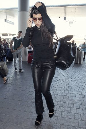Kourtney Kardashian is seen at LAX