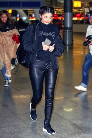 Kylie Jenner arrives at JFK airport
