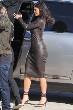Kylie Jenner exits a studio