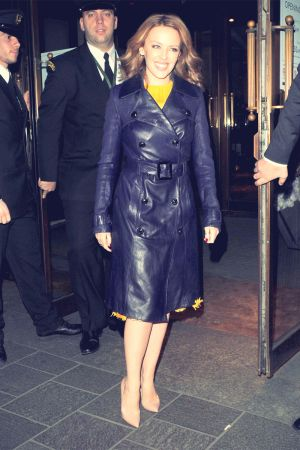 Kylie Minogue leaving London's Harrods department store