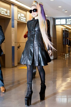 Lady Gaga arriving at Narita International Airport