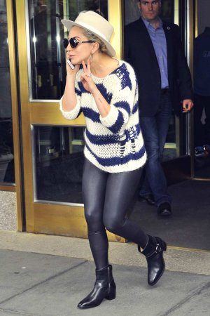 Lady Gaga is seen leaving her apartment building