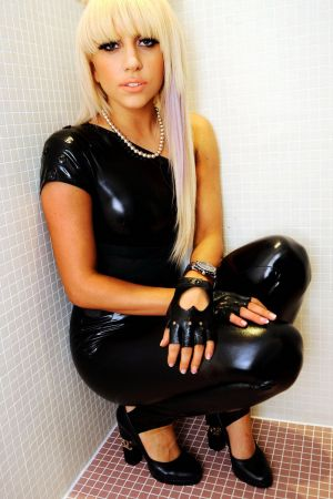 Lady Gaga tight leather pants