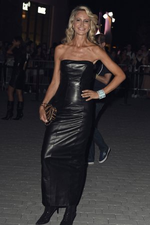 Lady Victoria Hervey arrives at the Versace show