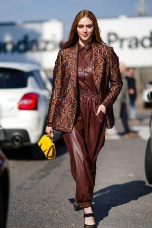 Larsen Thompson out during Milan Fashion Week
