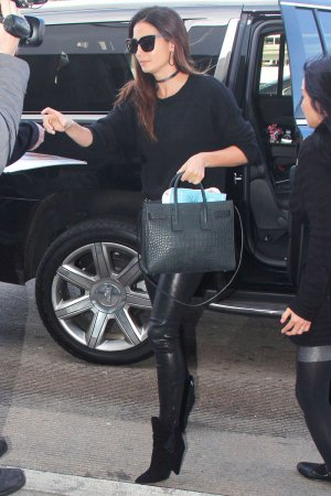 Lily Aldridge is seen at LAX