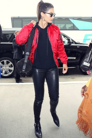 Lily Aldridge is seen at LAX