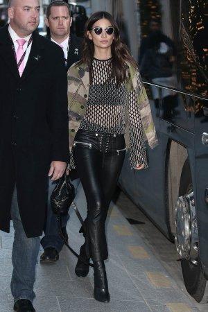 Lily Aldridge is seen leaving her Hotel