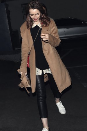 Lily Collins at Hugo's in West Hollywood