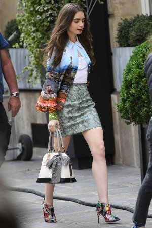 Lily Collins spotted shooting 'Emily in Paris' TV show