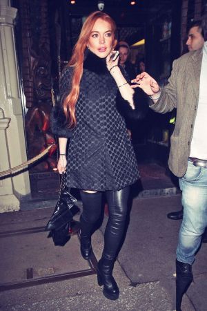 Lindsay Lohan out for dinner with friends