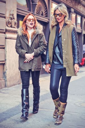 Lindsay Lohan taking a stroll with former model Lady Victoria Hervey