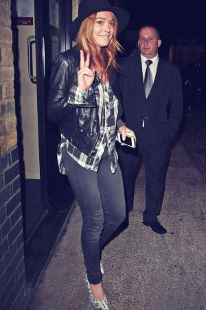 Lindsay Lohan walking out of Chiltern Firehouse