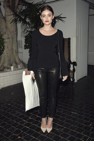 Lucy Hale leaves a party for Elizabeth and James Store