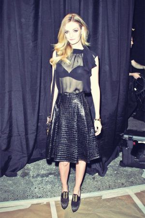 Lydia Hearst attends the Christian Siriano Fall 2013 fashion show